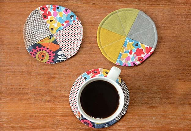 Easy DIY Projects for the Home - Quick Sewing Tutorial for DIY Coasters - DIY Projects & Crafts by DIY JOY #diy #quickcrafts #crafts #easycraftss