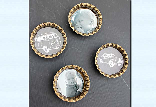 Easy Do it Yourself Crafts for the Home - Upcycled DIY Bottlecaps Magnets Tutorial - DIY Projects & Crafts by DIY JOY #diy #quickcrafts #crafts #easycraftss