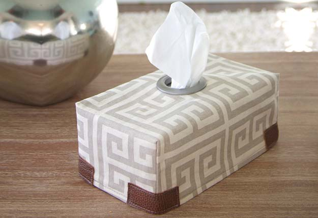 Cheap DIY Sewing Projects for the Home - Tissue Box Cover DIY Sewing Tutorial - DIY Projects & Crafts by DIY JOY #diy #quickcrafts #crafts #easycraftss