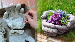 DIY Concrete Hand Planters
