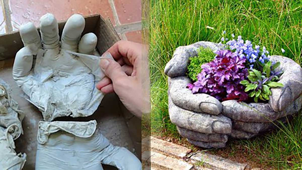 These diy concrete hand planters are easier to make than for Big hands for gardening