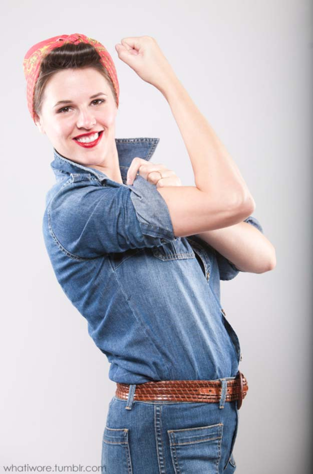 Last Minute DIY Halloween Costumes - Quick Ideas for Adults, Kids and Teens - Rosie The Riveter Costume Tutorial