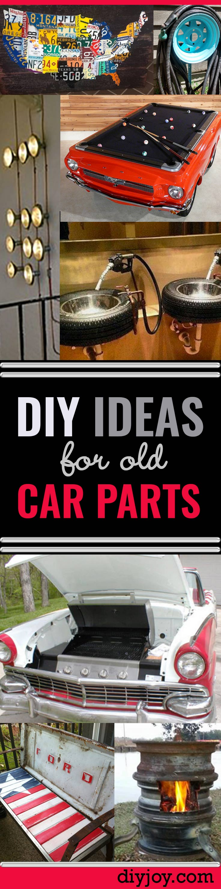 diy ideas car parts - DIY Home Decor, Furniture Projects, Signs and Seating Made From Tires, Bumpers and Old Car Parts - DIY Ideas Using Old Car Parts - DIY Projects and Fun Crafts for Men