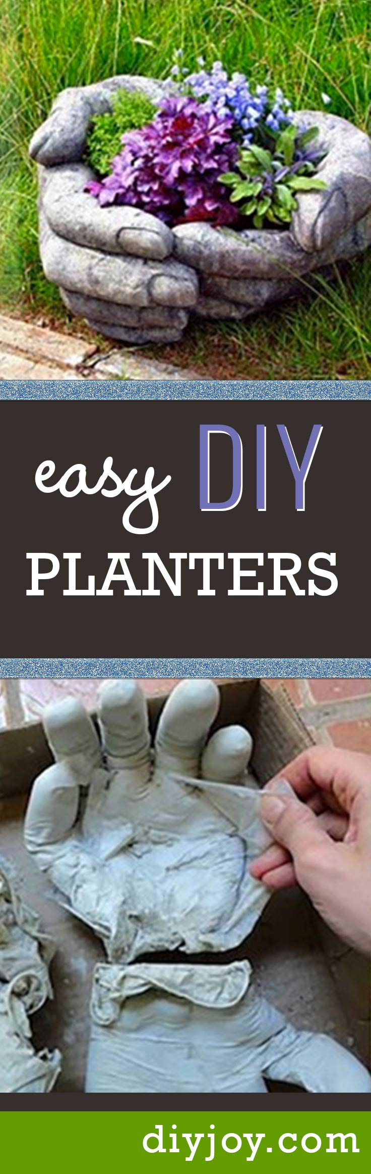 43 DIY concrete crafts - Concrete Pots In Hand Shade Are Super Creative Project- Cheap and creative projects and tutorials for countertops and ideas for floors, patio and porch decor, tables, planters, vases, frames, jewelry holder, home decor and DIY gifts. http://diyjoy.com/diy-concrete-crafts-projects-
