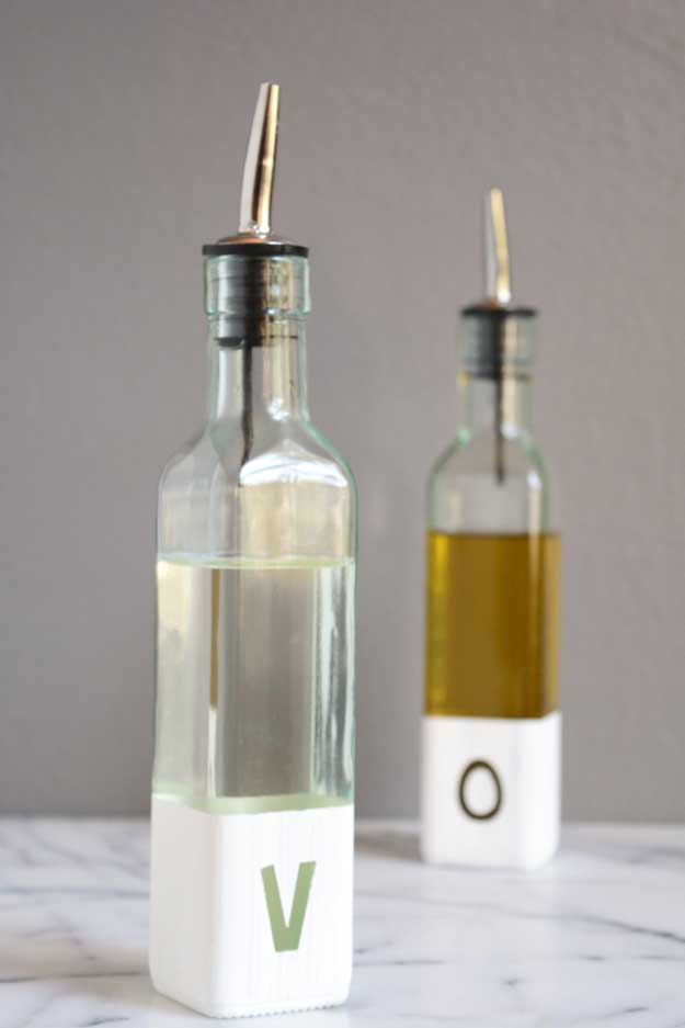 Inexpensive DIY Gifts. Crafts and DIY Gift Ideas for Him, for Her, for Family and Friends. Perfect for Birthday, Christmas, Mom and Dad.   Modern Oil and Vinegar Bottles  