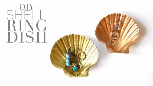 27 MORE Expensive Looking DIY Gifts. Crafts and DIY Gift Ideas for Him, for Her, for Family and Friends. Perfect for Birthday, Christmas, Mom and Dad. | DIY Shell Ring Dish | http://diyjoy.com/homemade-diy-gifts-pinterest