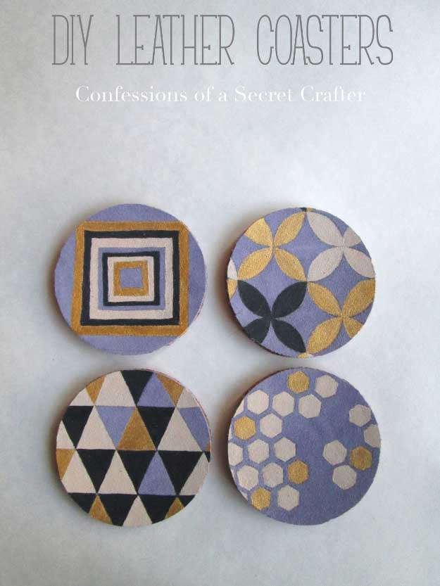 27 MORE Expensive Looking DIY Gifts. Crafts and DIY Gift Ideas for Him, for Her, for Family and Friends. Perfect for Birthday, Christmas, Mom and Dad. | Leather Painted Coasters |