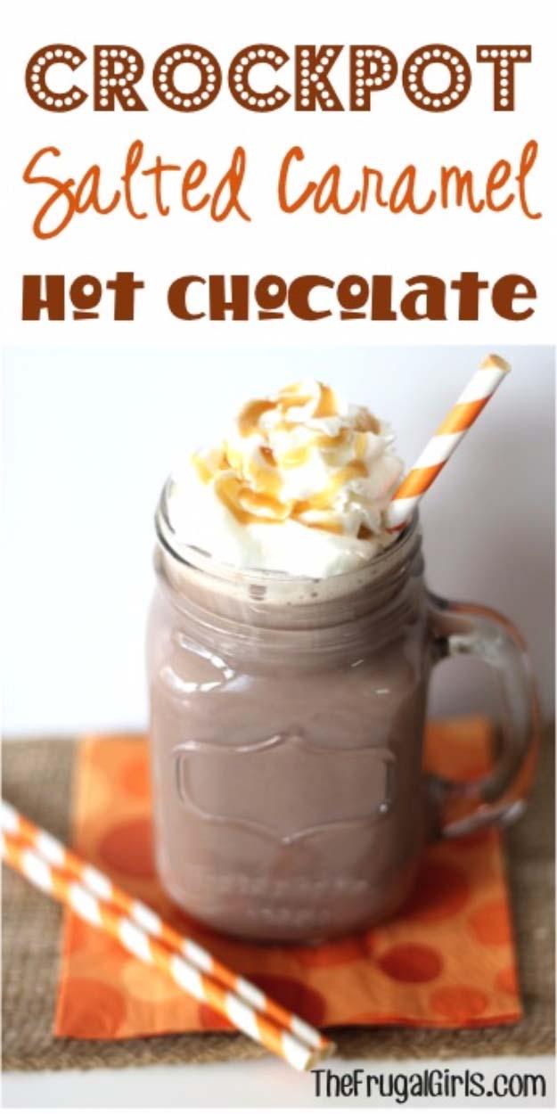 ... Caramel Crockpot Hot Chocolate | http://diyjoy.com/crock-pot-recipes
