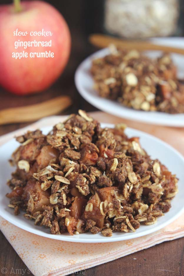 Easy Crock Pot Recipes You Have To Try Today | Best Easy Slow Cooker Recipe Ideas for the Crockpot Include beef stew, chili, chicken dinner dishes, soup and more | Slow Cooker Gingerbread Apple Crumble #crockpot #crockpotrecipes #easyreipes/
