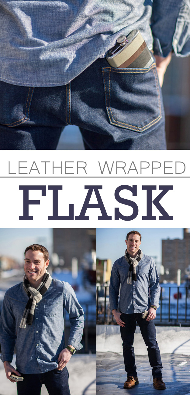 DIY Gifts For Men | Pinterest Crafts for Guys | Leather Wrapped Flask | Awesome DYI Ideas for Guys to Make | Thoughtful DIY birthday gift idea for a man