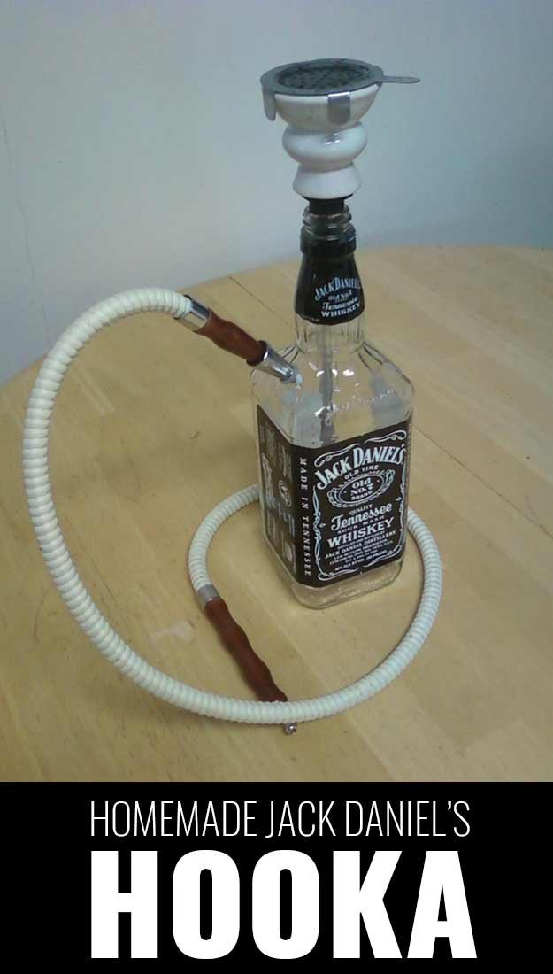 Fun DIY Ideas Made With Jack Daniels - Recipes, Projects and Crafts With The Bottle, Everything From Lamps and Decorations to Fudge and Cupcakes | Homemade Jack Daniels Hookah | http://diyjoy.com/diy-projects-jack-daniels