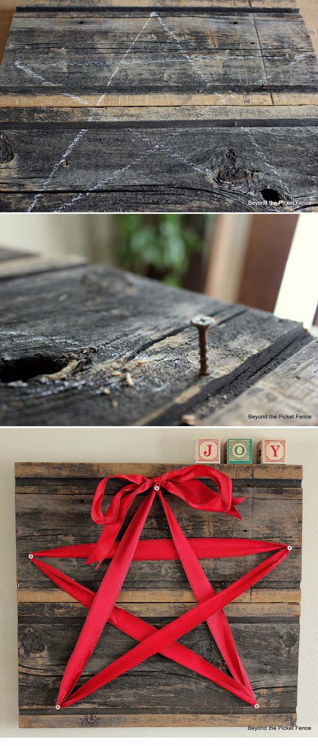 Awesome DIY Christmas Home Decorations and Homemade Holiday Decor Ideas - Quick and Easy Decorating ideas, cool ornaments, home decor crafts and fun Christmas stuff | Crafts and DIY projects by DIY Joy | 15 Minute Ribbon Star #diy #crafts #christmas
