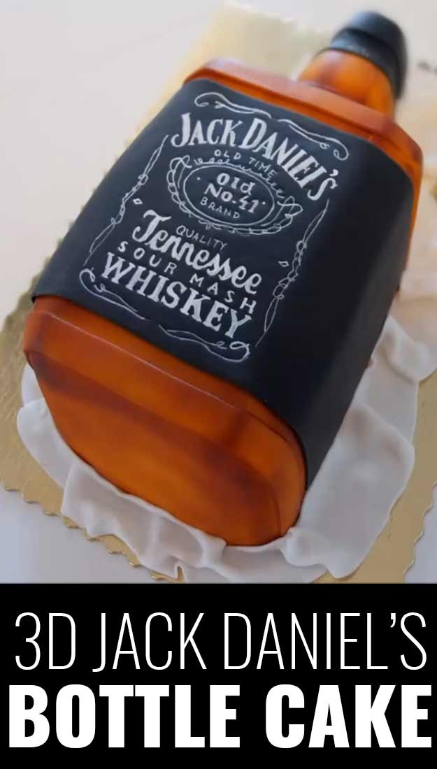Fun DIY Ideas Made With Jack Daniels - Recipes, Projects and Crafts With The Bottle, Everything From Lamps and Decorations to Fudge and Cupcakes | 3D Jack Daniels Bottle Cake #diy #jackdaniels #recipes #crafts
