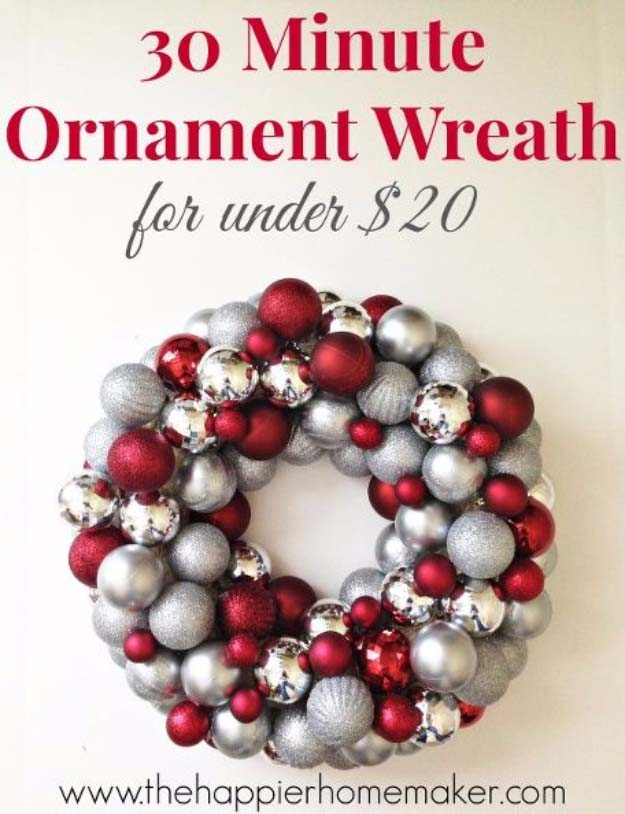 Awesome DIY Christmas Home Decorations and Homemade Holiday Decor Ideas - Quick and Easy Decorating ideas, cool ornaments, home decor crafts and fun Christmas stuff | Crafts and DIY projects by DIY Joy | 30 Minute Ornament Wreath #diy #crafts #christmas
