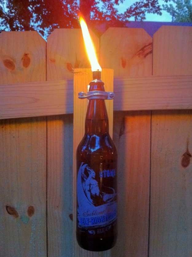 Cool Cheap DIY Projects for Men | Homemade Christmas Gifts for Dad, Father | Beer Bottle Torche | Rustic Man Cave Furniture DIY Project Ideas - Manly Decor, Games | Things to Make for Backyard and Outdoors - #diy #craftsformen #guys #giftsformen