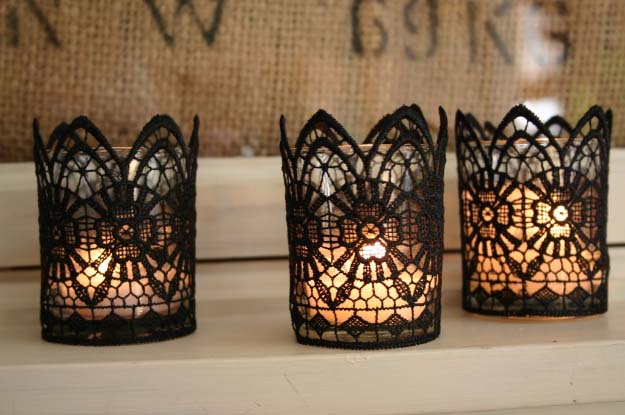 DIY Wedding Centerpieces - DIY Lace Votives - Do It Yourself Ideas for Brides and Best Centerpiece Ideas for Weddings - Step by Step Tutorials for Making Mason Jars, Rustic Crafts, Flowers, Modern Decor, Vintage and Cheap Ideas for Couples on A Budget Outdoor and Indoor Weddings http://diyjoy.com/diy-wedding-centerpieces