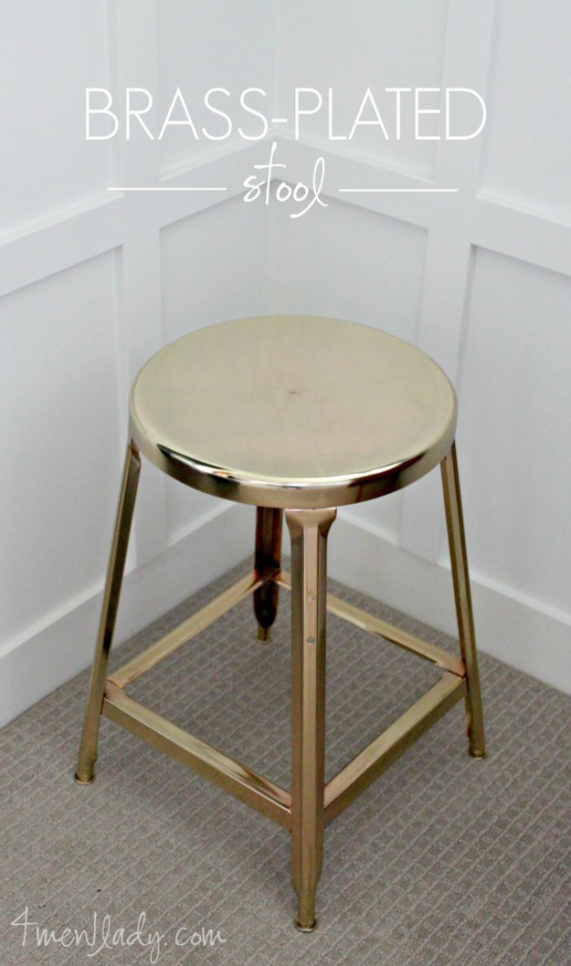Awesome Crafts for Men and Manly DIY Project Ideas Guys Love - Fun Gifts, Manly Decor, Games and Gear. Tutorials for Creative Projects to Make This Weekend | Brass Plated Stool #diy #craftsformen #guys #giftsformen