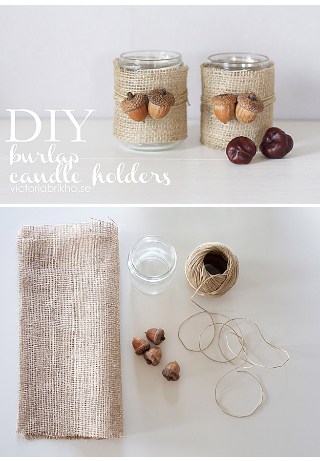 DIY Projects with Burlap and Creative Burlap Crafts for Home Decor, Gifts and More | Burlap Candle Holders