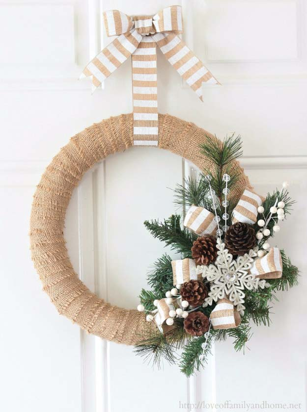 diy holiday wreaths make awesome homemade christmas decorations for your front door cool crafts and - Burlap Christmas Decorations To Make