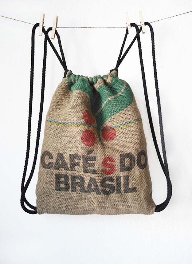 DIY Projects with Burlap and Creative Burlap Crafts for Home Decor, Gifts and More | Burlap Coffee Bag Drawstring Back Pack