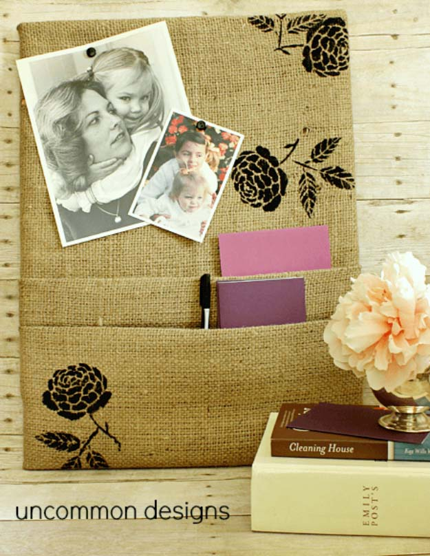 DIY Projects with Burlap and Creative Burlap Crafts for Home Decor, Gifts and More | Burlap Corkboard with Pockets |  http://diyjoy.com/diy-projects-with-burlap