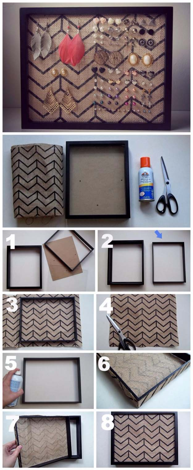 DIY Projects with Burlap and Creative Burlap Crafts for Home Decor, Gifts and More | Burlap Frame Earring Holder
