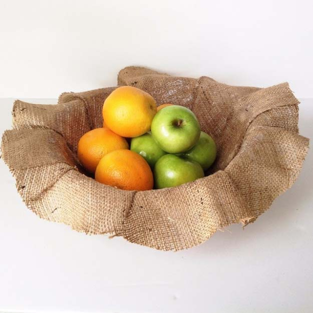 DIY Projects with Burlap and Creative Burlap Crafts for Home Decor, Gifts and More | Burlap Fruit Bowl