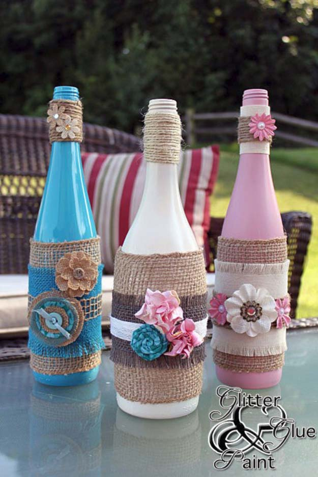 DIY Projects with Burlap and Creative Burlap Crafts for Home Decor, Gifts and More | Burlap Wrapped Tiki Wine Bottles