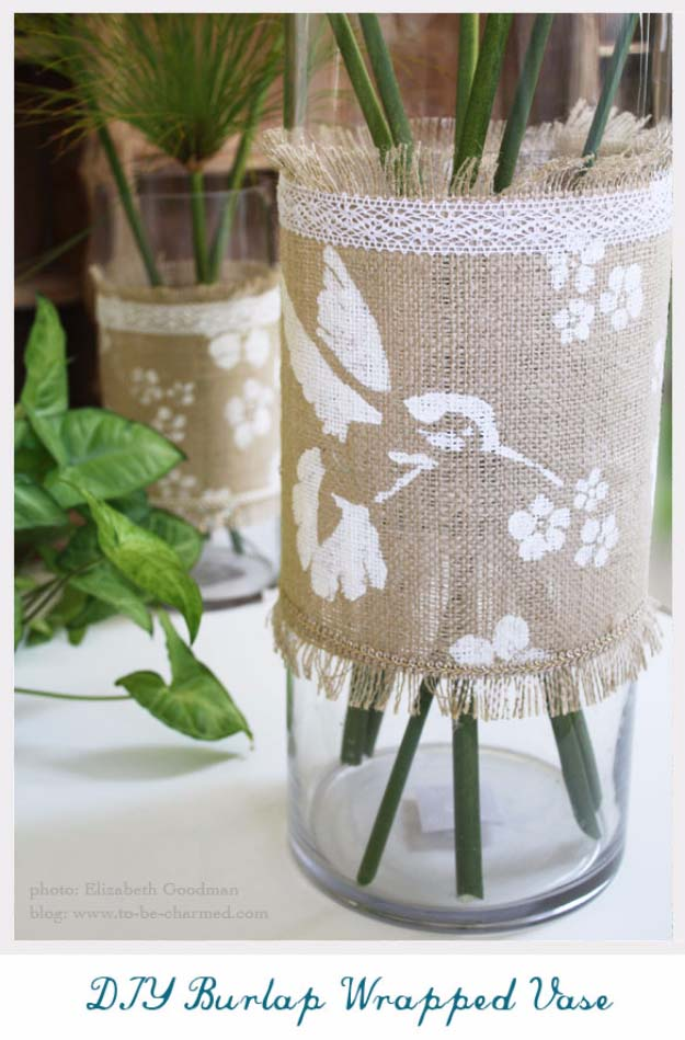 DIY Projects with Burlap and Creative Burlap Crafts for Home Decor, Gifts and More | Burlap Wrapped Vase Embellished with Stencils and Lace |  http://diyjoy.com/diy-projects-with-burlap