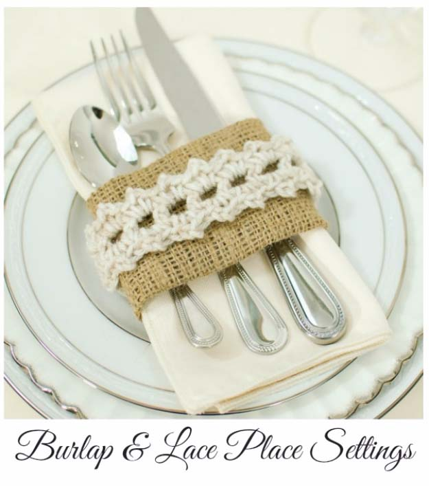 DIY Projects with Burlap and Creative Burlap Crafts for Home Decor, Gifts and More | Burlap and Crochet Place Settings |  http://diyjoy.com/diy-projects-with-burlap
