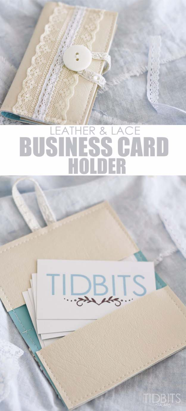 DIY Crafts You Can Make with Lace | Cool DIY Ideas for Fashion, Decor, Gifts, Jewelry and Home Accessories Made With Lace | Business Card Holder Made from Leather and Lace | http://diyjoy.com/diy-crafts-ideas-with-lace