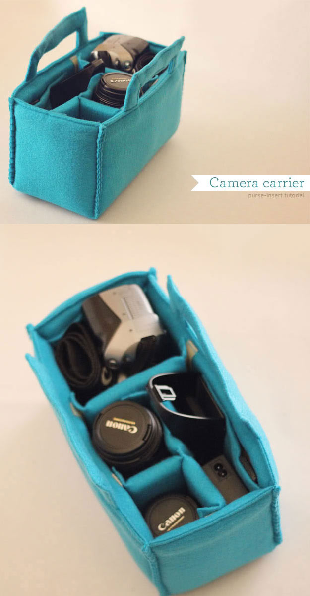DIY Gifts for Your Girlfriend and Cool Homemade Gift Ideas for Her | Easy Creative DIY Projects and Tutorials for Christmas, Birthday and Anniversary Gifts for Mom, Sister, Aunt, Teacher or Friends | Homemade Felt Camera Carrier is Perfect Gift for Photographers #diygifts #diyideas