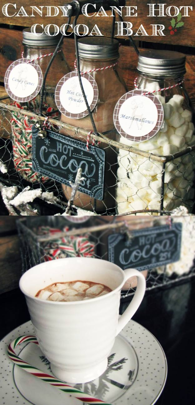 Homemade DIY Gifts in A Jar | Best Mason Jar Cookie Mixes and Recipes, Alcohol Mixers | Fun Gift Ideas for Men, Women, Teens, Kids, Teacher, Mom. Christmas, Holiday, Birthday and Easy Last Minute Gifts | Candy Cane Hot Cocoa Bar Gift #diy
