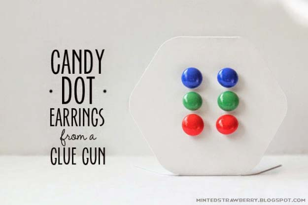 Fun Crafts To Do With A Hot Glue Gun | Best Hot Glue Gun Crafts, DIY Projects and Arts and Crafts Ideas Using Glue Gun Sticks | Candy Dot Earrings | http://diyjoy.com/hot-glue-gun-crafts-ideas