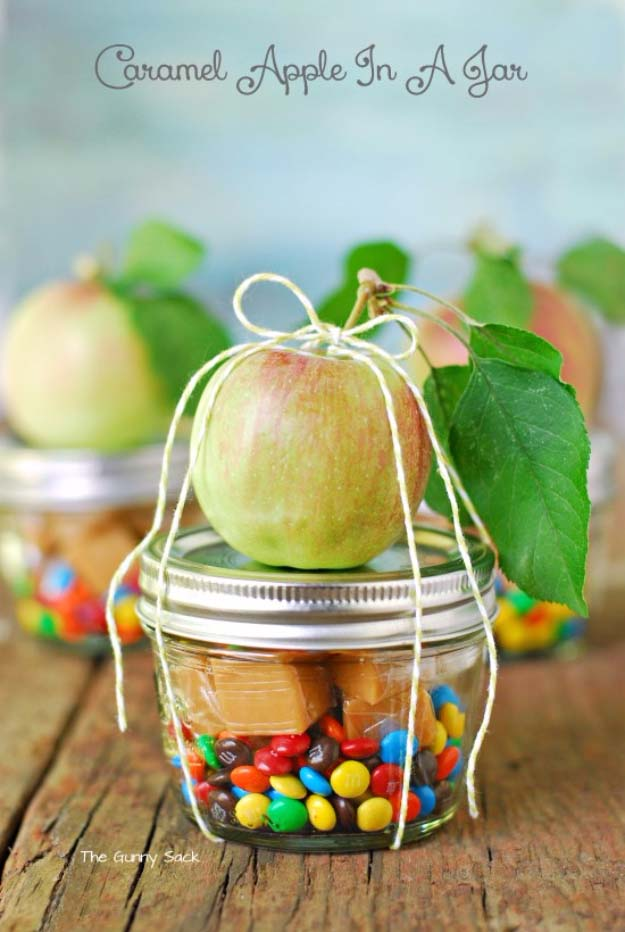 Homemade DIY Gifts in A Jar | Best Mason Jar Cookie Mixes and Recipes, Alcohol Mixers | Fun Gift Ideas for Men, Women, Teens, Kids, Teacher, Mom. Christmas, Holiday, Birthday and Easy Last Minute Gifts | Caramel Apple in a Jar   |  http://diyjoy.com/diy-gifts-in-a-jar