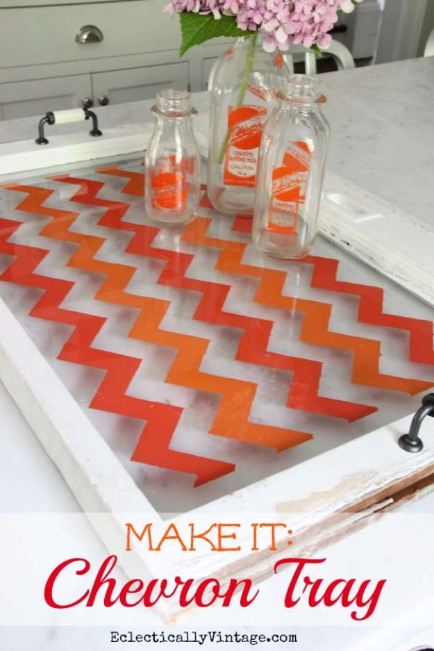 DIY Gifts for Your Parents | Cool and Easy Homemade Gift Ideas That Mom and Dad Will Love | Creative Christmas Gifts for Parents With Step by Step Instructions | Crafts and DIY Projects by DIY JOY | Chevron Tray #diy #diygifts #christmasgifts