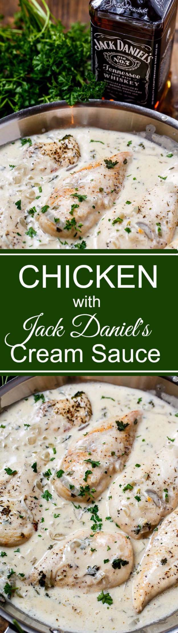 Fun DIY Ideas Made With Jack Daniels - Recipes, Projects and Crafts With The Bottle, Everything From Lamps and Decorations to Fudge and Cupcakes | Chicken in Jack Daniels Cream Sauce #diy #jackdaniels #recipes #crafts