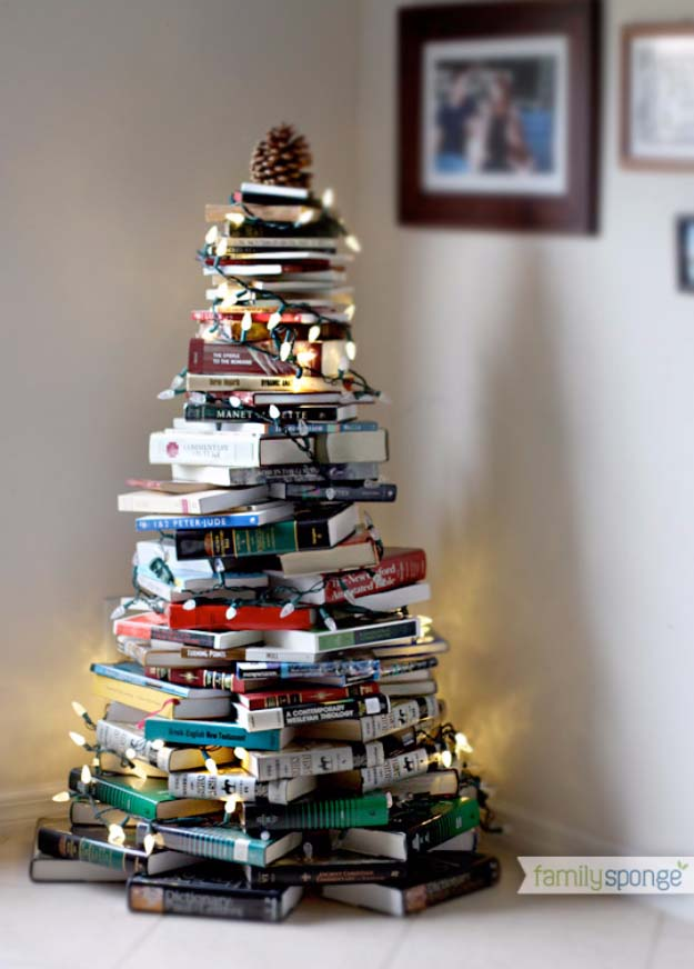 Awesome DIY Christmas Home Decorations and Homemade Holiday Decor Ideas - Quick and Easy Decorating ideas, cool ornaments, home decor crafts and fun Christmas stuff  | Crafts and DIY projects by DIY Joy  |  Christmas Tree made from Books  |  http://diyjoy.com/diy-christmas-decor-holiday-decorations