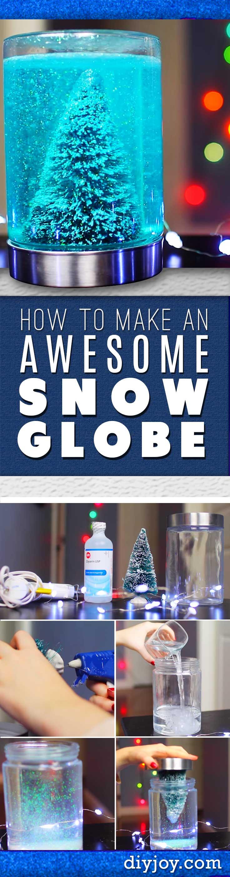 DIY Christmas Decorations - Homemade Christmas Crafts - How To Make A Snow Globe in A Mason Jar Tutorial
