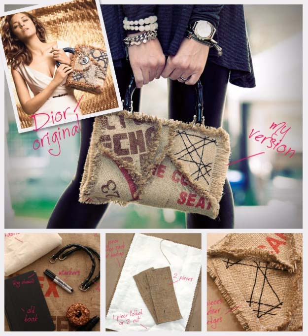 DIY Projects with Burlap and Creative Burlap Crafts for Home Decor, Gifts and More | Coffee Burlap Sack Purse |  http://diyjoy.com/diy-projects-with-burlap