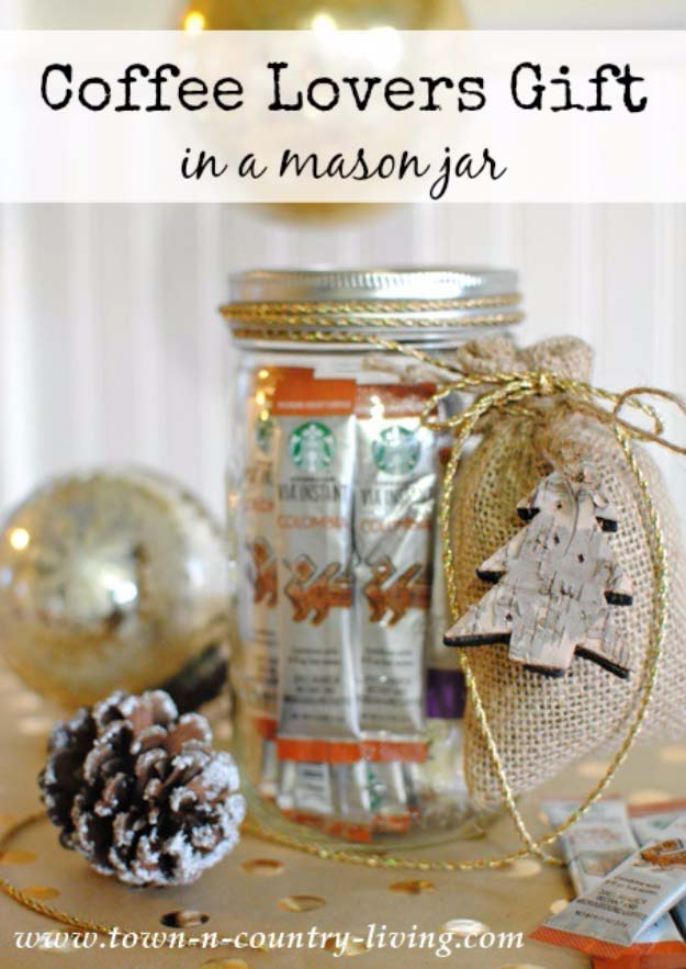 Homemade DIY Gifts in A Jar | Best Mason Jar Cookie Mixes and Recipes, Alcohol Mixers | Fun Gift Ideas for Men, Women, Teens, Kids, Teacher, Mom. Christmas, Holiday, Birthday and Easy Last Minute Gifts | Coffee Lovers Gift in a Mason Jar | http://diyjoy.com/diy-gifts-in-a-jar