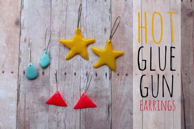 Glue Gun Crafts DIY | Best Hot Glue Gun Crafts, DIY Projects and Arts and Crafts Ideas Using Glue Gun Sticks | Cool Shapes Hot Glue Earrings #diy #crafts #gluegun