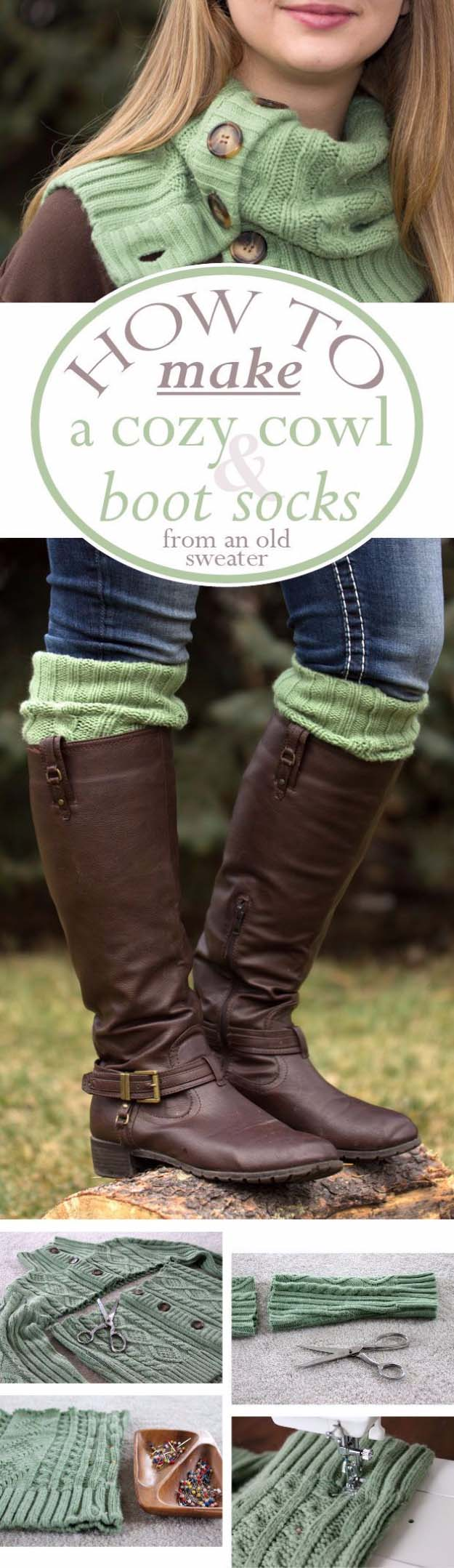 DIY Gifts for Your Girlfriend and Cool Homemade Gift Ideas for Her | Easy Creative DIY Projects and Tutorials for Christmas, Birthday and Anniversary Gifts for Mom, Sister, Aunt, Teacher or Friends | Matching Homemade Cowl and DIY Boot Socks - Fun Fashion for Her #diygifts #diyideas