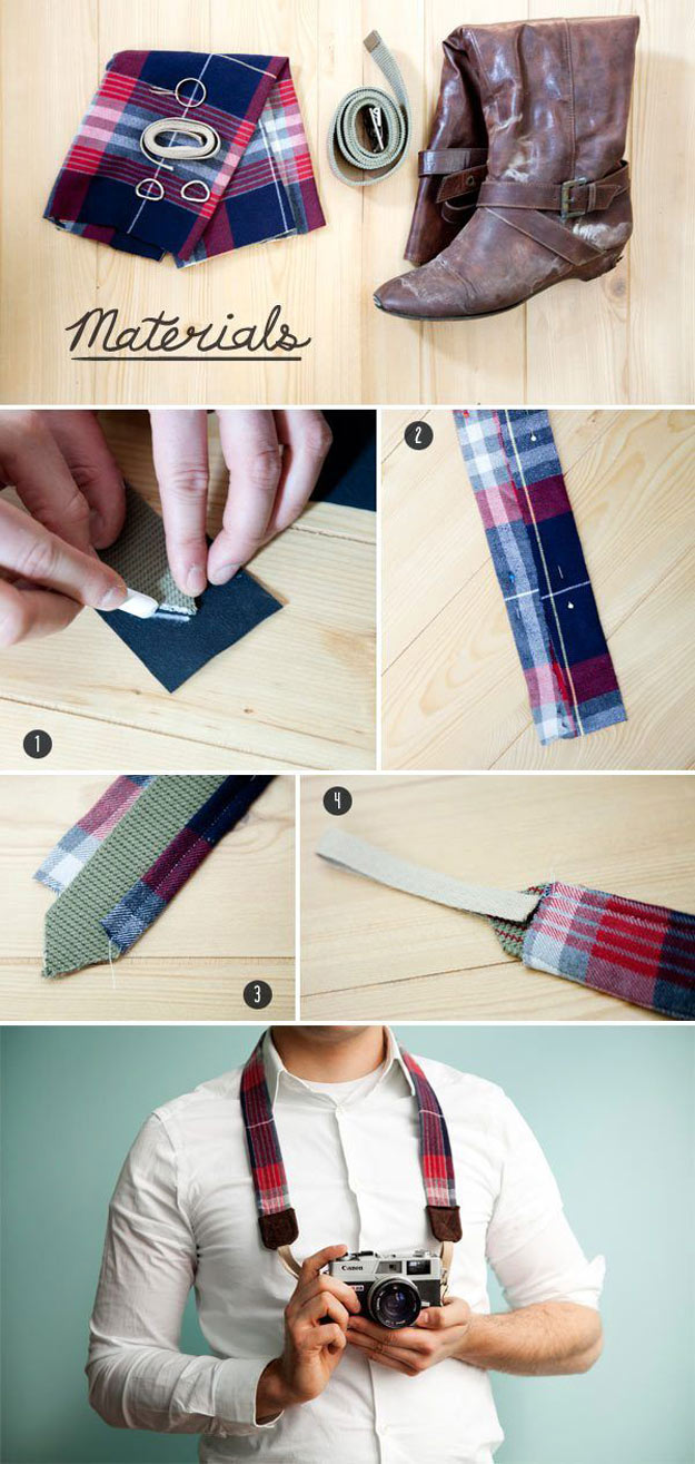 Awesome Crafts for Men and Manly DIY Project Ideas Guys Love - Fun Gifts, Manly Decor, Games and Gear. Tutorials for Creative Projects to Make This Weekend   Craft Your Own DIY Camera Strap from a Belt, Shirt, and Boot   http://diyjoy.com/diy-projects-for-men-crafts