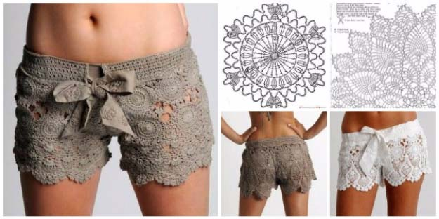 DIY Crafts You Can Make with Lace | Cool DIY Ideas for Fashion, Decor, Gifts, Jewelry and Home Accessories Made With Lace | Crochet Lace Short | http://diyjoy.com/diy-crafts-ideas-with-lace