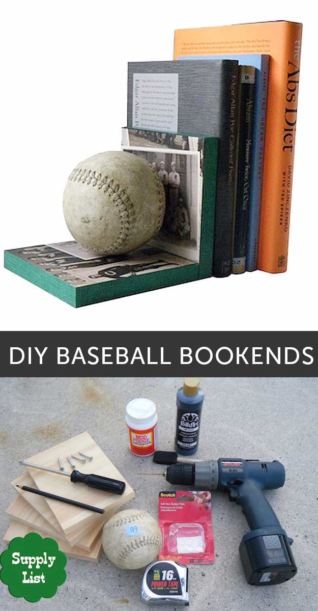 Crafts for Men and Manly DIY Project Ideas Guys Love - Fun Gifts, Manly Decor, Games and Gear. Tutorials for Creative Projects to Make This Weekend | DIY Baseball Bookends