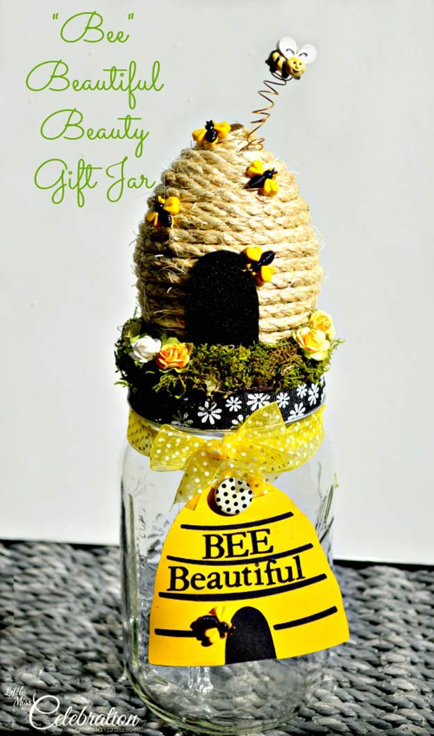 "Homemade DIY Gifts in A Jar | Best Mason Jar Cookie Mixes and Recipes, Alcohol Mixers | Fun Gift Ideas for Men, Women, Teens, Kids, Teacher, Mom. Christmas, Holiday, Birthday and Easy Last Minute Gifts | DIY ""Bee"" Beautiful Beauty Gift Jar #diy"