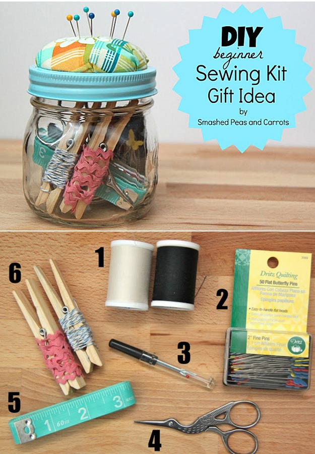 Homemade DIY Gifts in A Jar | Best Mason Jar Cookie Mixes and Recipes, Alcohol Mixers | Fun Gift Ideas for Men, Women, Teens, Kids, Teacher, Mom. Christmas, Holiday, Birthday and Easy Last Minute Gifts | DIY Beginner Sewing Kit Gift in a Jar #diy