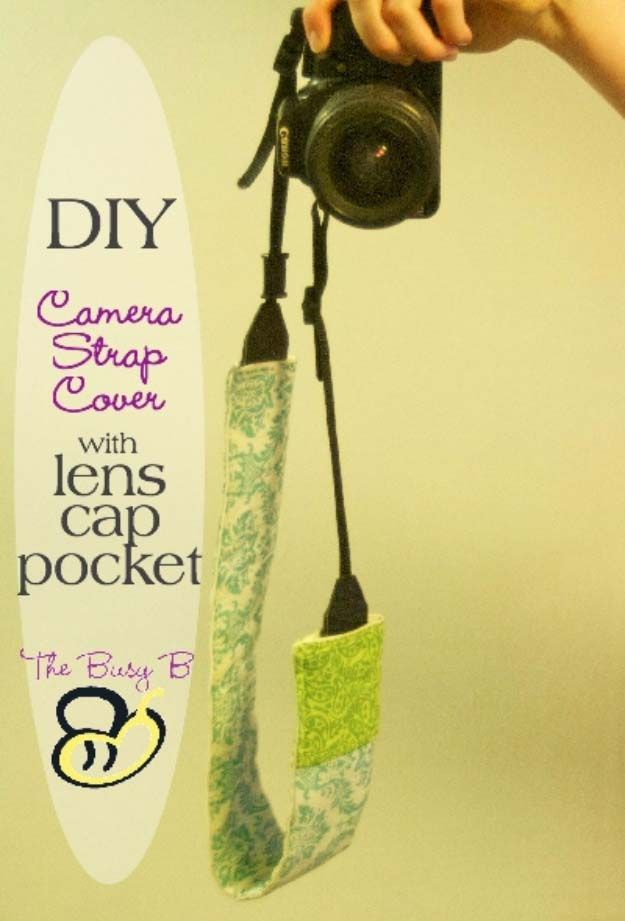 DIY Gifts for Your Girlfriend and Cool Homemade Gift Ideas for Her | Easy Creative DIY Projects and Tutorials for Christmas, Birthday and Anniversary Gifts for Mom, Sister, Aunt, Teacher or Friends | DIY Camera Strap Cover with Lens Cap Pocket | Cool Crafts and DIY Projects by DIY JOY http://diyjoy.com/diy-gifts-for-her-girlfriend-mom