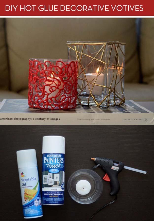 Glue Gun Crafts DIY | Best Hot Glue Gun Crafts, DIY Projects and Arts and Crafts Ideas Using Glue Gun Sticks | DIY Colorful Votive Candles with Hot Glue #diy #crafts #gluegun